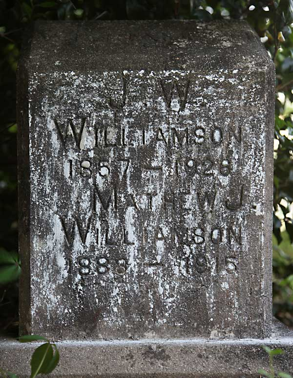 J. W. & Mathew J. Williamson Gravestone Photo