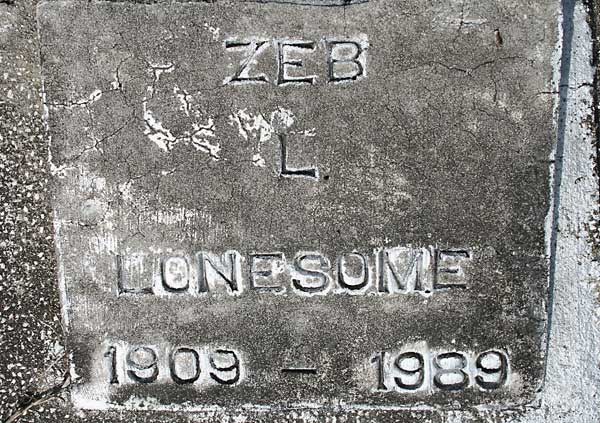 Zeb L. Lonesome Gravestone Photo