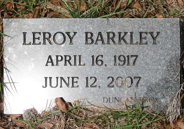 Leroy Barkley Gravestone Photo