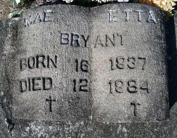 Mae Etta Bryant Gravestone Photo