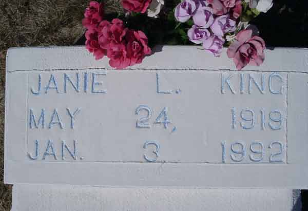 Janie L. King Gravestone Photo