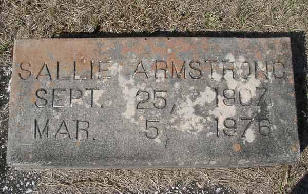 Sallie Armstrong Gravestone Photo