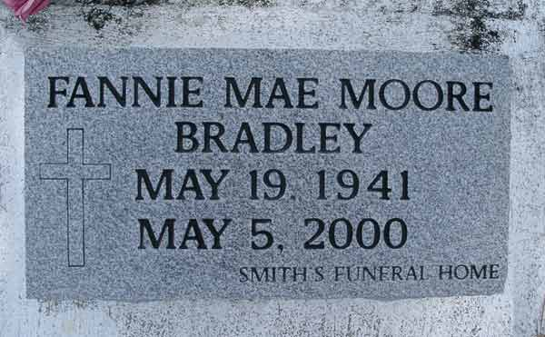 Fannie Mae Moore Bradley Gravestone Photo