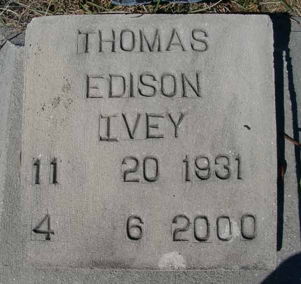 Thomas Edison Ivey Gravestone Photo